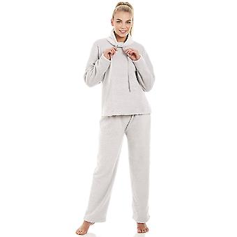 Camille Womens Supersoft Fleece Light Grey Pyjama Set