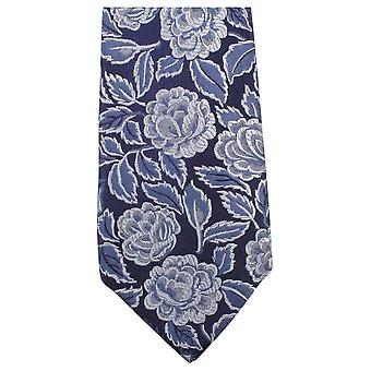 Knightsbridge Neckwear tonale Floral cravate - bleu marine/bleu
