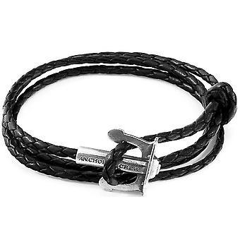 Anchor and Crew Union Silver and Braided Leather Bracelet - Coal Black