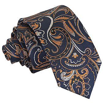 Marine & Gold Cypress Paisley Slim Krawatte