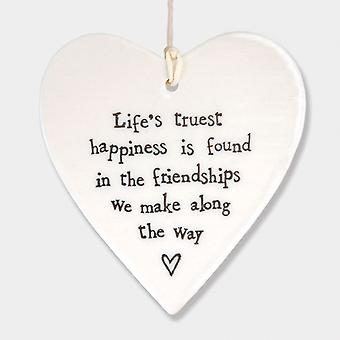 East of India Porcelain Heart - Life's Truest Happiness friend - Gift