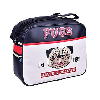 David & Goliath Pugs Messenger Bag Faux Leather Shoulder Sports Satchel