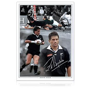 Zinzan Brooke Signed New Zealand All Blacks Rugby Photo