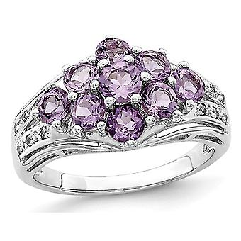 2.00 (ctw) Natural Amethyst Cluster Ring in Sterling Silver