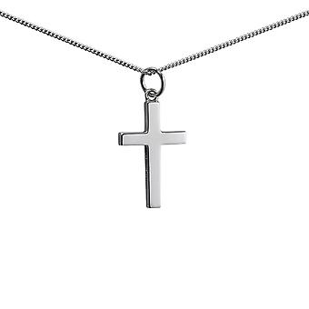 9ct White Gold 20x13mm plain solid block Cross with a 1mm wide curb Chain 16 inches Only Suitable for Children