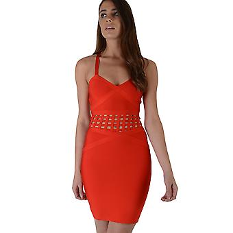 Lovemystyle Red Bandage Dress With Caged Waist Detail