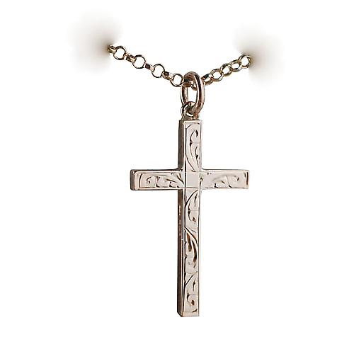 9ct Rose Gold 30x18mm hand engraved solid block Cross with a belcher Chain 16 inches Only Suitable for Children