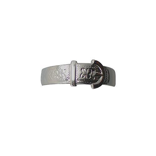 Sliver 6mm gents embossed Buckle Ring Size V