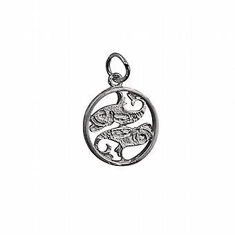 Silver 11mm genomborrade Pisces Zodiac pendel
