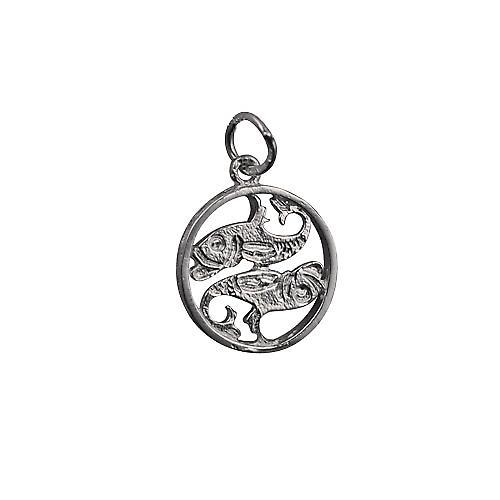 Silber 11mm durchbohrt Zodiac Anhänger Fische