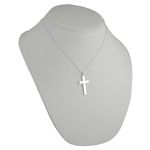 Silver 34x19mm plain flat latin Cross with a curb Chain 18 inches