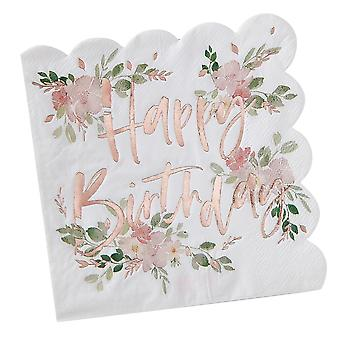 Happy Birthday Floral Ditsy Napkins x 16 - Partyware - Tableware