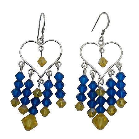 Fashion Design Swarovski Capri Blue Earrings For Young Girls