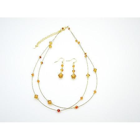 Golden Wire Round Necklace w/ Swarovski Topaz & Fire Opal Crystals Set