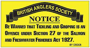 British Anglers Society Tickling enamelled steel sign    (dp)