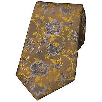 David Van Hagen Floral gemusterte Krawatte - Camel/Gold