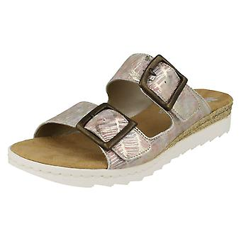 Ladies Rieker Buckle Detailed Mule Sandals 63094