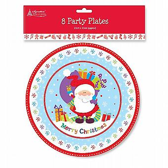 Disposable Christmas Paper Party Plates Festive Santa Friends 23Cm Pack of 16 (KCBP)