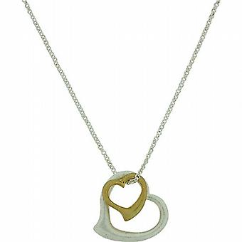Park Lane Ladies Two Tone Double Heart Pendant on Silvertone Chain
