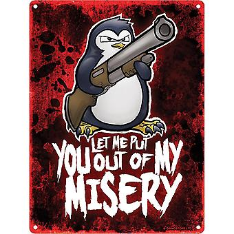 Psycho Penguin Misery Mini Tin Sign