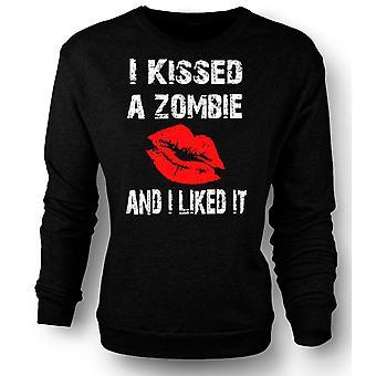 Womens Sweatshirt jeg kysset en Zombie og jeg likte det
