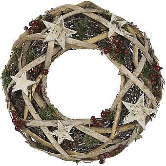Artificial Natural Birch Wreath with Stars