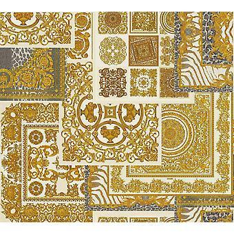 Versace Decoupage Crema Oro Papel pintado barroco ornamento MetalIzado Pasta Pared