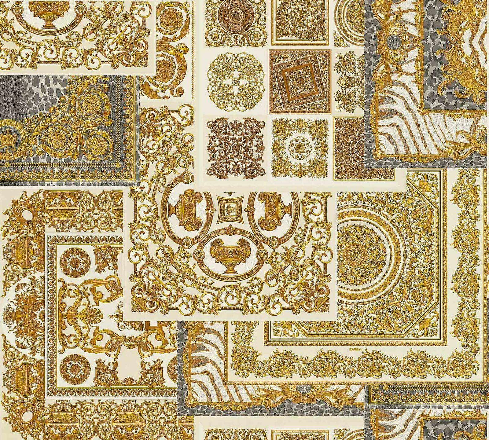 Versace Decoupage Cream or Wallpaper Baroque OrnaHommest Metallic Paste Wall