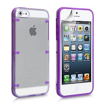 YouSave iPhone 5 5S 6 Dot Design Gel and Hard Hybrid Case Purple