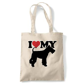 I Love My Fox Terrier Tote | Dog Gift Fur Baby Lover Owner Mans Best Friend | Reusable Shopping Cotton Canvas Long Handled Natural Shopper Eco-Friendly Fashion