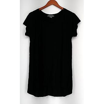 Kate et Mallory Top Short Sleeve Top w/ Pleat Detail Black Womens A426011