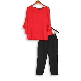 Women with Control Petite Set Flounce Sleeve Top & Pant Red A301384