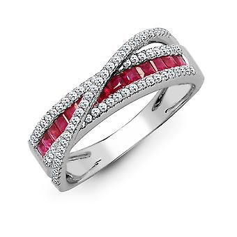 Jewelco London 18ct White Gold Channel Set 0.33ct Diamond and Princess Red 0.63ct Ruby Wembley Stadium Eternity Ring 9mm