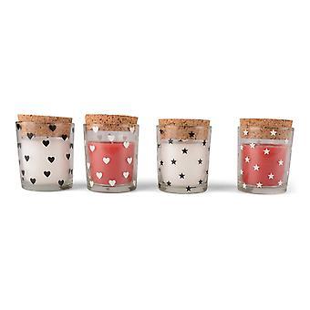 Light in glass jar 4-pack red/White Star/Heart