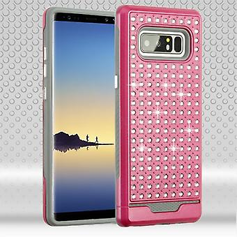 ASMYNA Hot Pink/Iron Gray Diamante FullStar Protector Cover  for Galaxy Note 8