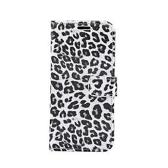 iPhone 11 Monedero Caso Leopard-White