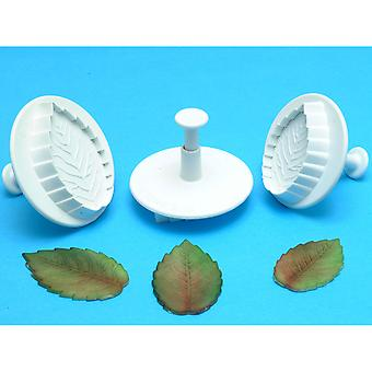 Plunger Cutter Set 3 Pieces Veined Rose Leaf Rl530