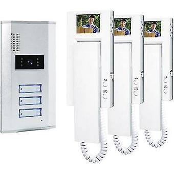 Video door intercom Corded Complete kit Smartwares VD63 SW 3 flat building Silver, White