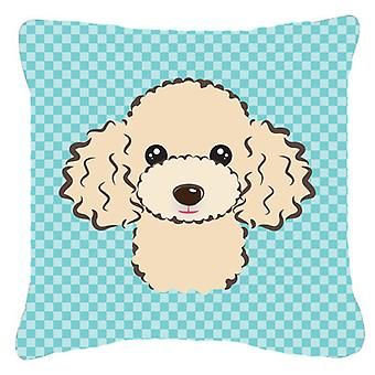 Checkerboard Blue Buff Poodle Canvas Fabric Decorative Pillow BB1196PW1818