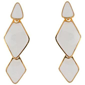 Kenneth Jay Lane White Enamel & Gold Plated Triangle Drop Earrings