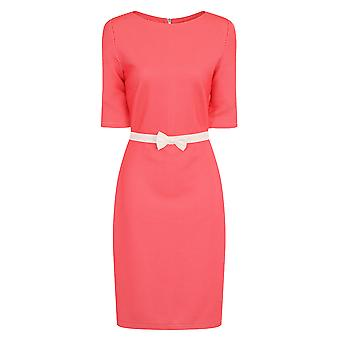 Paper Dolls Coral Waffle Bodycon Dress with Bow Waist