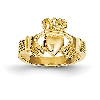 14 k Yellow Gold solide Open rug gepolijst Claddagh-Ring - 3,3 gram - Size 6