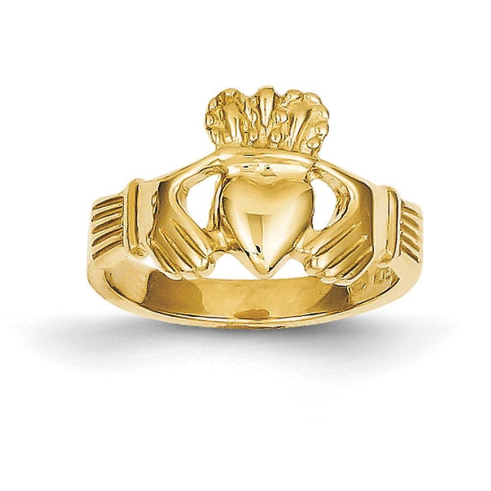 14k jaune or Solid Open back Polished Claddagh sacue - 3.3 Grams - Taille 6