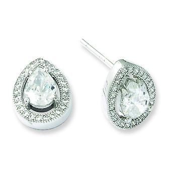 Sterling Silver and Cubic Zirconia Brilliant Embers Teardrop Post Earrings