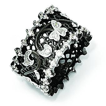 Sterling Silver Black rhodium Cubic Zirconia Black and White Ring - Ring Size: 6 to 8