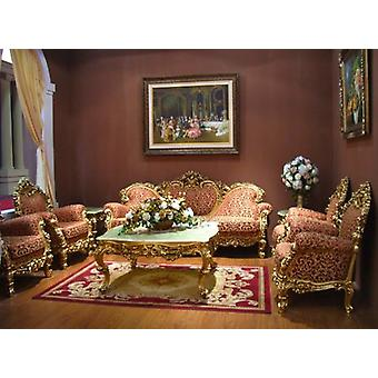 baroque salon set suite sofa carved 3 seater armchair carved table antique style Vp0830