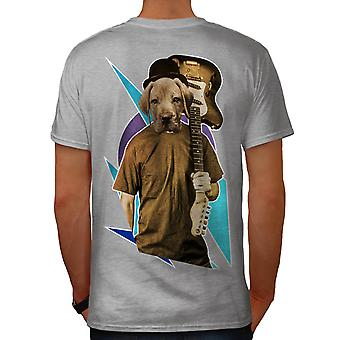 Guitar Labrador Music Dog Men Grey T-shirt Back | Wellcoda