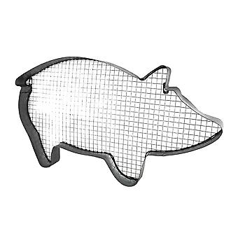 Metal and Mesh Pig Shaped Distressed Galvanized Finish Wall Hanging 26 Inch