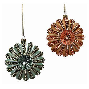 Grøn Orange havet søpindsvin ferie ornamenter sæt af 2 Katherines samling