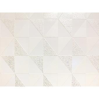 Geometric Wallpaper Glitter Luxury Vinyl Washable Ceramica White Cream Silver